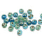 Picasso Blue rondelle beads mix authentic Czech glass jewelry supplies