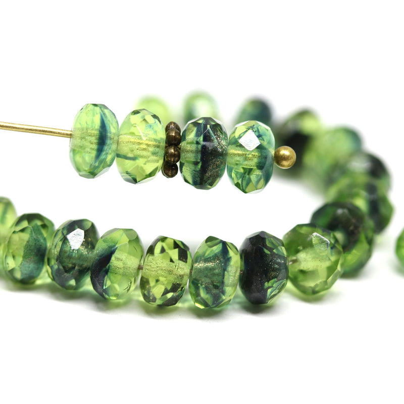 Green czech glass fire polished rondelle beads DIY jewelry making supply
