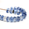 Clear blue czech glass fire polished rondelle beads DIY jewelry