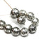 10mm Black silver wash round druk Czech glass beads jewelry making