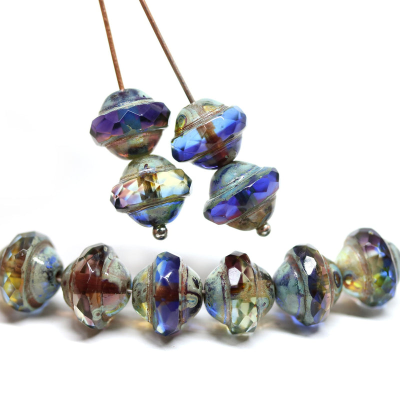 Blue purple saucer czech glass beads, UFO shape bicone DIY jewelry