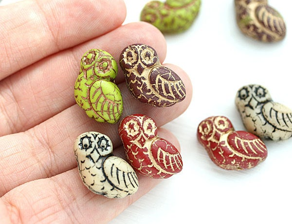 4pc Fancy Owl Beads Czech glass Earring Pairs Large Bird Bead
