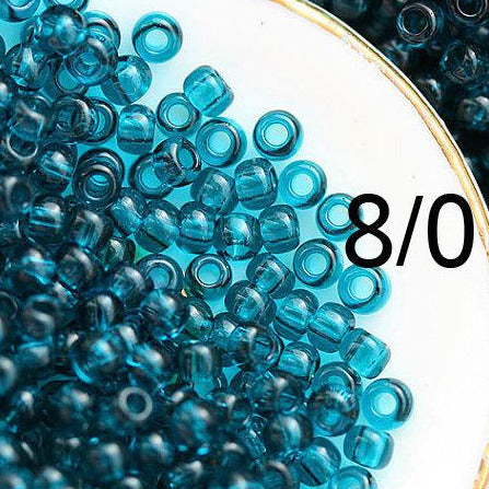 8/0 Toho seed beads, Transparent Capri Blue N 7BD - 10g