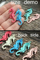 2pc Blue Seahorse charms Painted Metal Casting