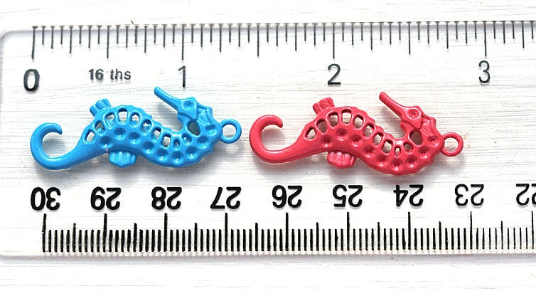 Seahorse Sage Green Painted charms Metal Casting, 2pc