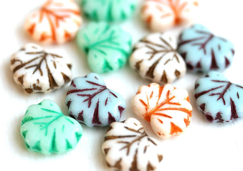 11x13mm Fancy Maple Leaf Beads Mix, Czech glass leaves, 12pc