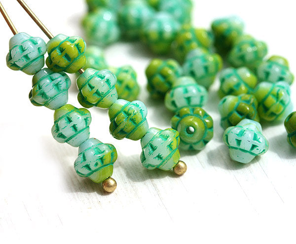 6mm Green small fancy Bicone beads czech glass 60pc