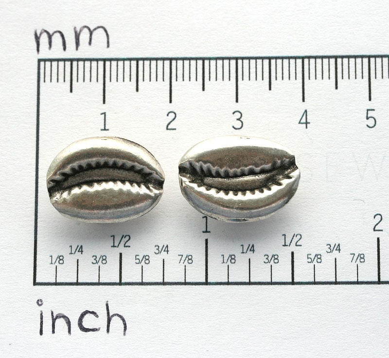 2pc Antique Silver Cowry shell beads