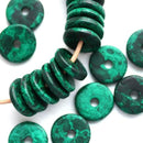 25Pc Dark Teal Green Ceramic rondelle beads 13mm