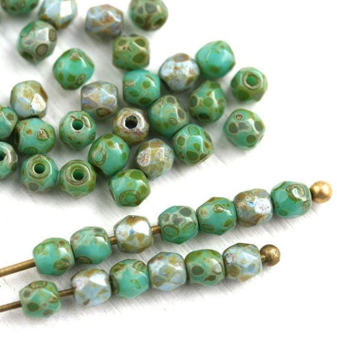 3mm Turquoise Green beads mix Fire polished czech glass beads Picasso finish - 50Pc