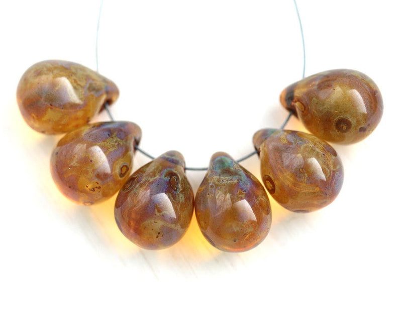 6Pc Amber picasso teardrop beads, Large briolettes czech glass drops - 10x14mm