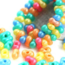 6x3mm Bright Colors Farfalle Seed beads MIX, czech glass beads, peanut - 10gr