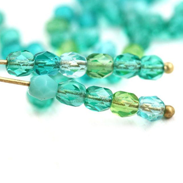 4mm Czech glass mix - Teal Green Ocean colored spacers  fire polished round beads - 50Pc
