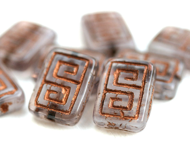 12x9mm Opal Amethyst Rectangle czech beads, Copper inlays, Greek Key, Carved glass beads - 8pc