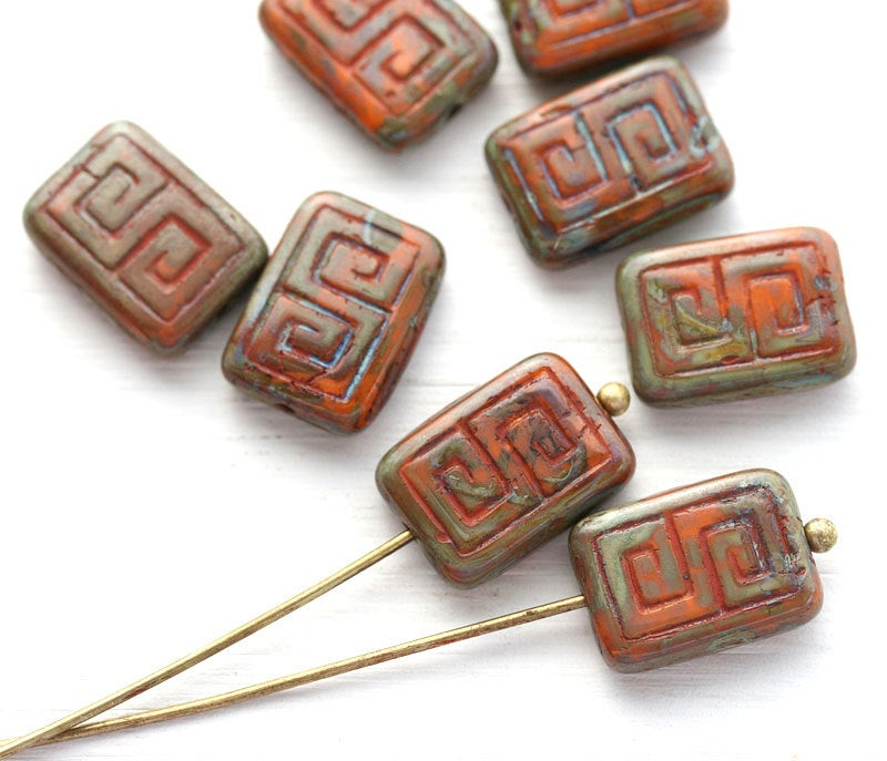 12x9mm Picasso Rectangle czech beads, Rustic Orange, Greek Key, Carved Aged glass 8pc