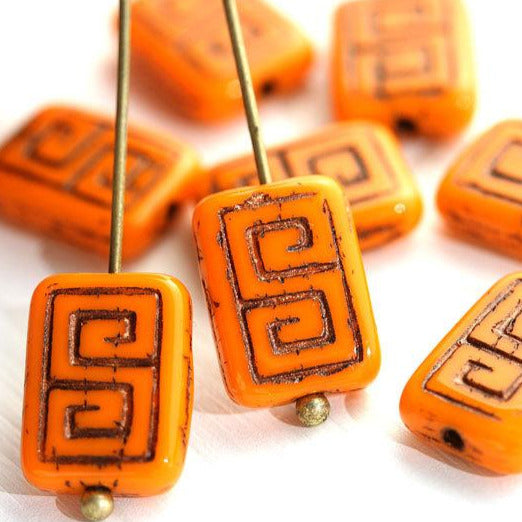 12x9mm Orange Rectangle czech beads Copper Inlays Greek Key carved glass beads - 8pc