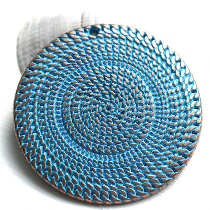 50mm Extra large heavy round disk pendant, Blue patina on copper