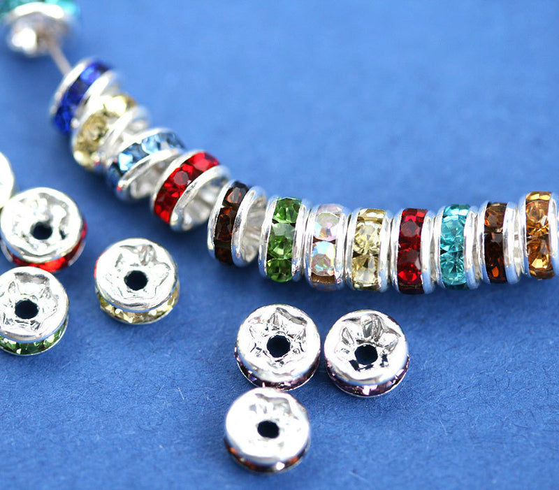 5mm Silver Rhinestone Rondelle Spacer Beads MIX, Grade AAA - 20pc