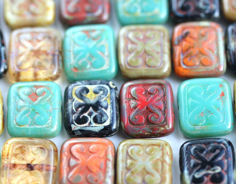 12x11mm Opal White Rectangle Swirl Beads, Old Patina, Carved czech glass rustic beads - 8pc