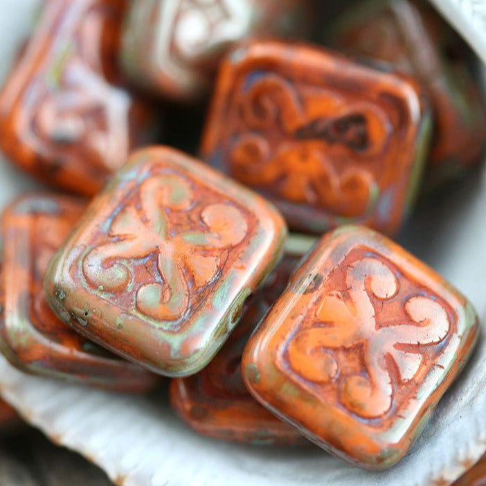 12mm Rustic Orange Picasso beads, Rectangle Swirls, Carved czech glass 8pc