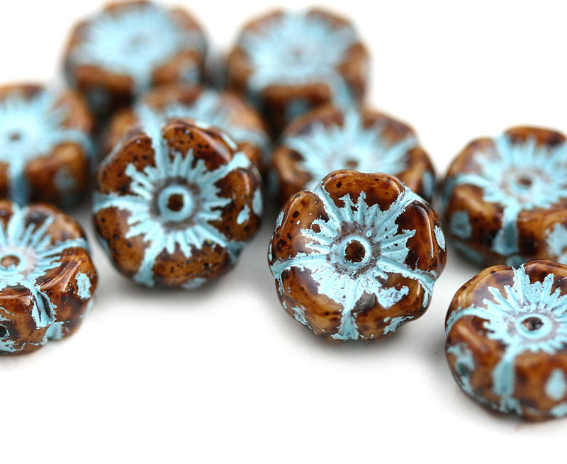 12mm Pansy flower bead, Brown and Blue Patina Inlays Czech glass - 10pc