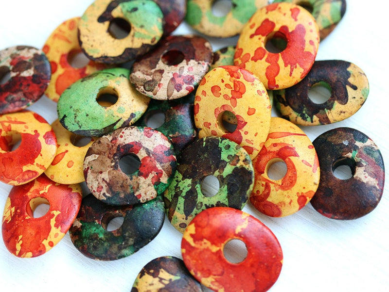 16mm Bright ceramic cornflake rondelle Beads mix Indian Summer 12pc