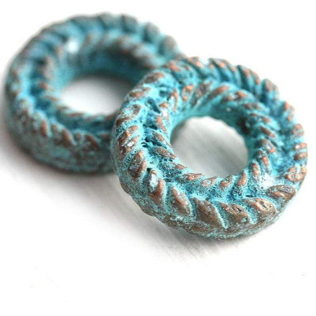 15mm Carved Metal Ring Green Patina copper 2Pc