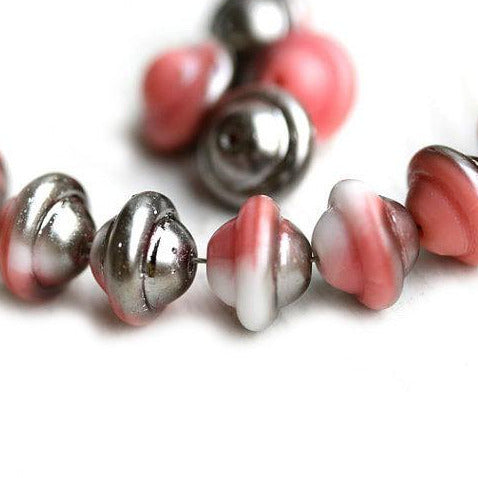 8x10mm Pink Saucer czech glass beads, UFO shape - 12Pc