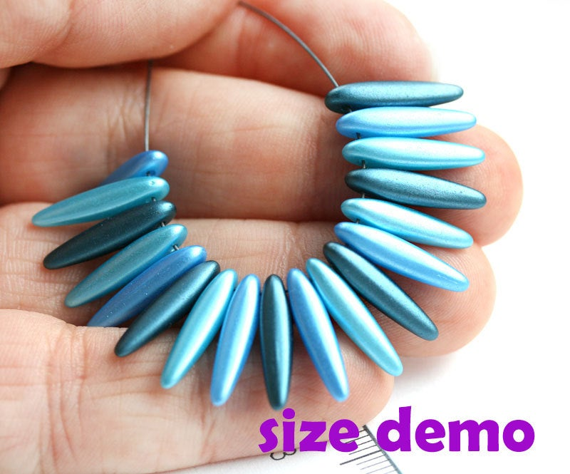 30pc Blue beads MIX, Daggers Special Coating, Blue stick beads, czech glass - 16mm
