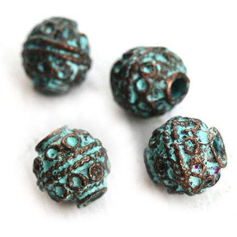 8mm Ornament Round copper beads Green patina 2mm hole 4pc