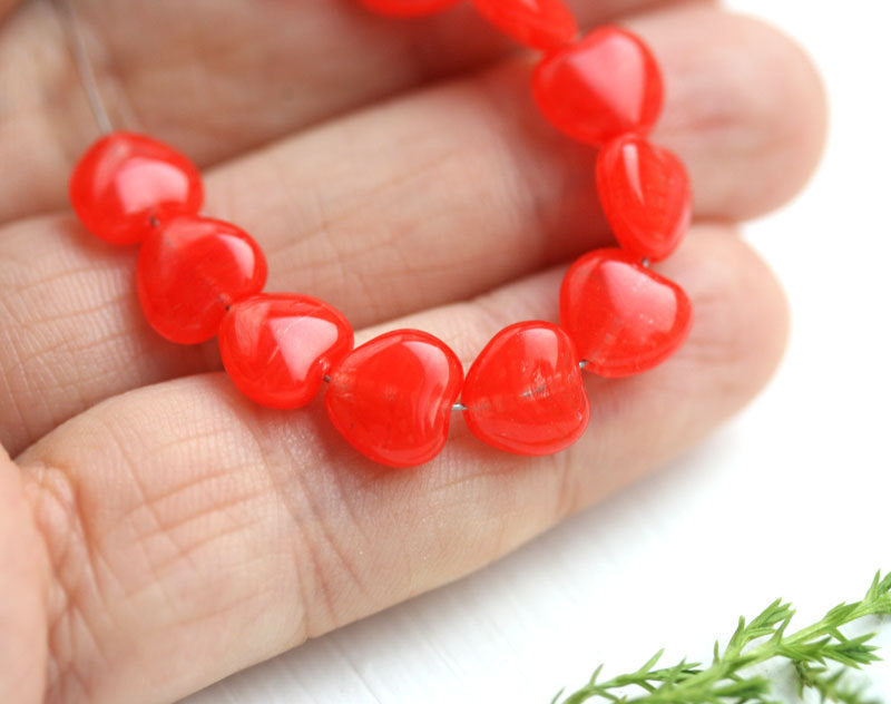 8mm Red Heart, Striped Red czech glass pressed beads - 30Pc