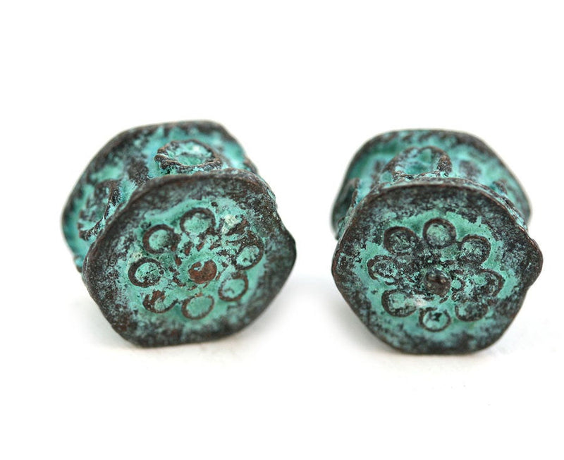 2pc Green patina Hexagon beads 2mm hole 15mm