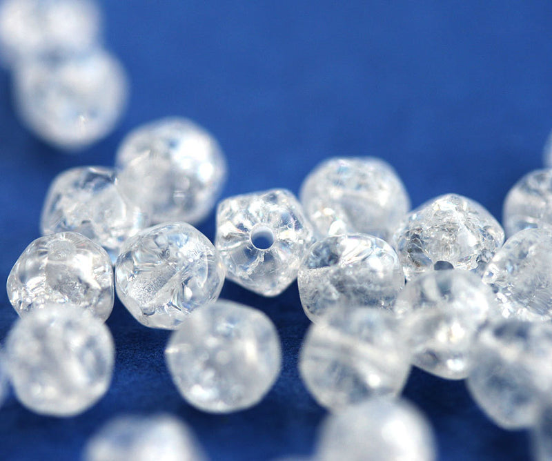 5mm Hexagon Crystal Clear beads, Crackled round czech glass spacers, 50pc