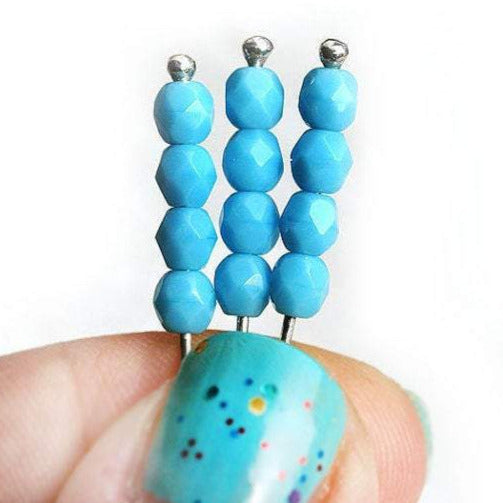 4mm Blue Turquoise Czech glass beads, Fire polished faceted spacers - 50Pc