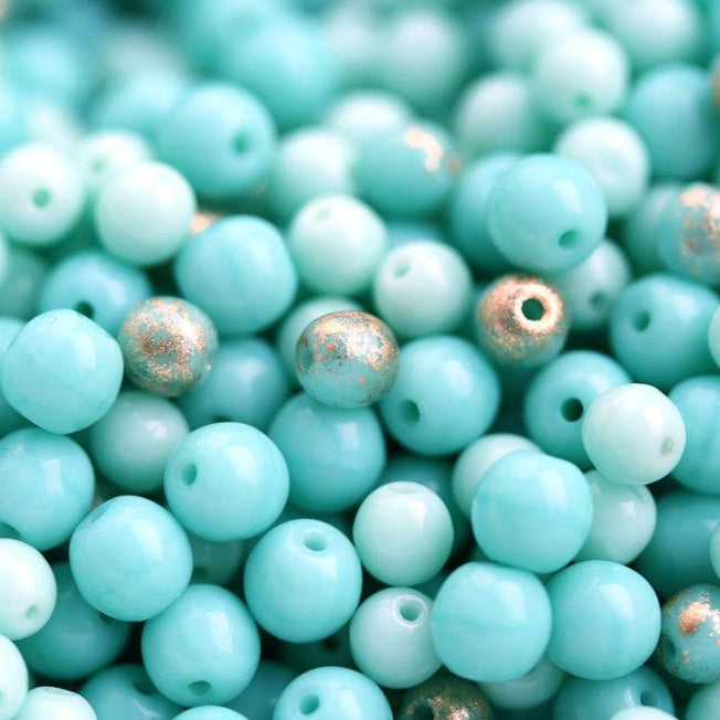 4mm 5mm Turquoise golden druk round beads mix, Czech glass - about 70Pc