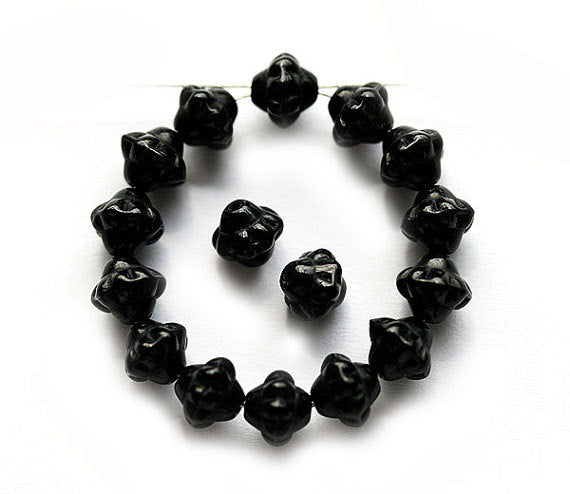 6mm Jet black Fancy bicones, czech glass pressed beads - 30Pc