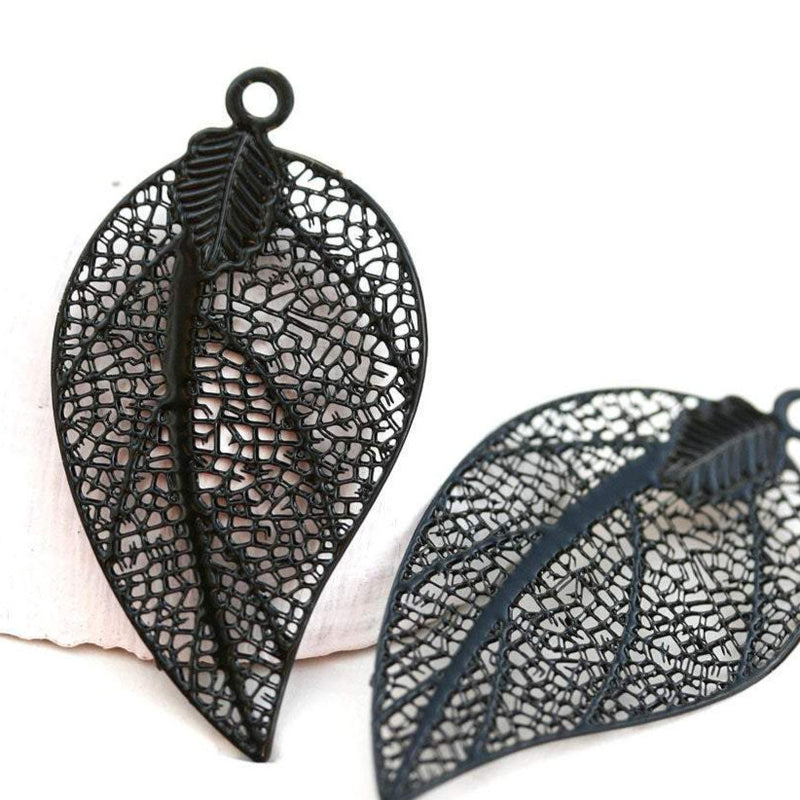 2pc Black Filigree Leaf charms, Thin Laser cut stamping