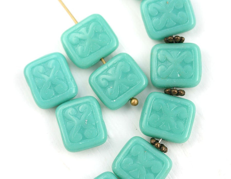12x11mm Turquoise Green Rectangle czech glass Carved beads 8pc
