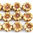 12mm Pansy flower bead, Beige Brown Picasso Czech glass Flowers - 10pc