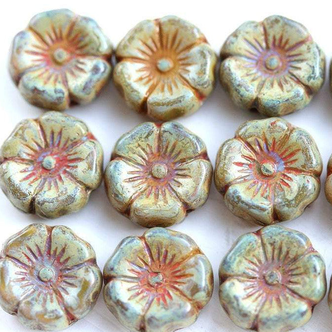 12mm Pansy flower bead, Sage Green  Picasso Czech glass - 10pc