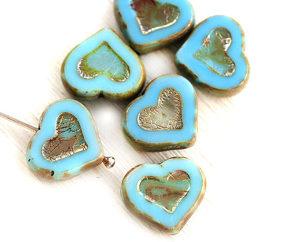 14mm Turquoise Blue Heart czech glass beads, Picasso finish - 6Pc