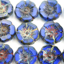 12mm Dark Blue Pansy flower bead, Picasso Czech glass fire polished - 6pc