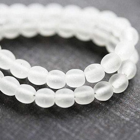 5mm Matte clear Czech glass beads, druk round spacers - 80Pc