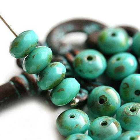 4x7mm Czech beads Turquoise Green Picasso finish glass spacers - 25Pc