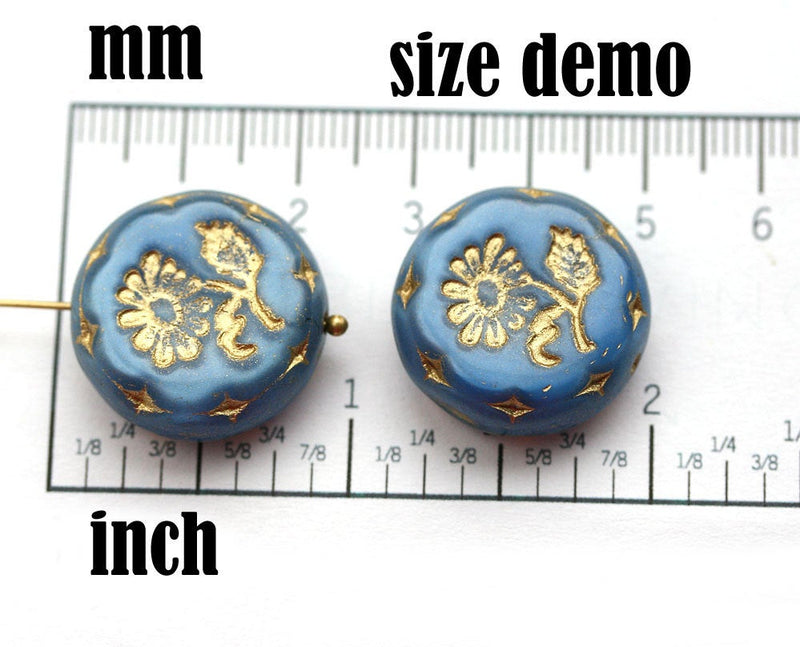 22mm White Flower Focal bead, Black Inlays, Czech glass Round tablet floral ornament - 1pc