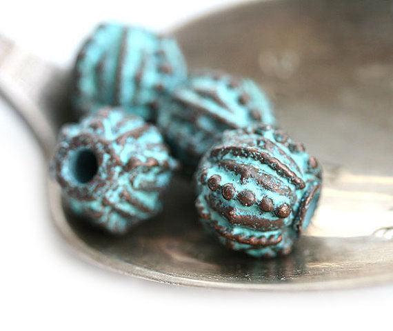 10mm Dotty round copper beads 2mm hole Green patina 4Pc