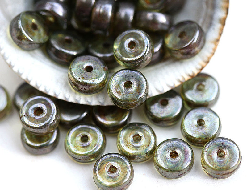 6x3mm Antique Green Picasso Rondelle czech glass beads - 40Pc
