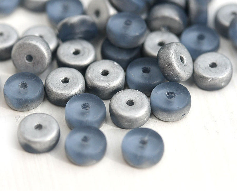 40Pc Blue and Silver Rondelle  czech glass beads, Montana Blue - 6x3mm