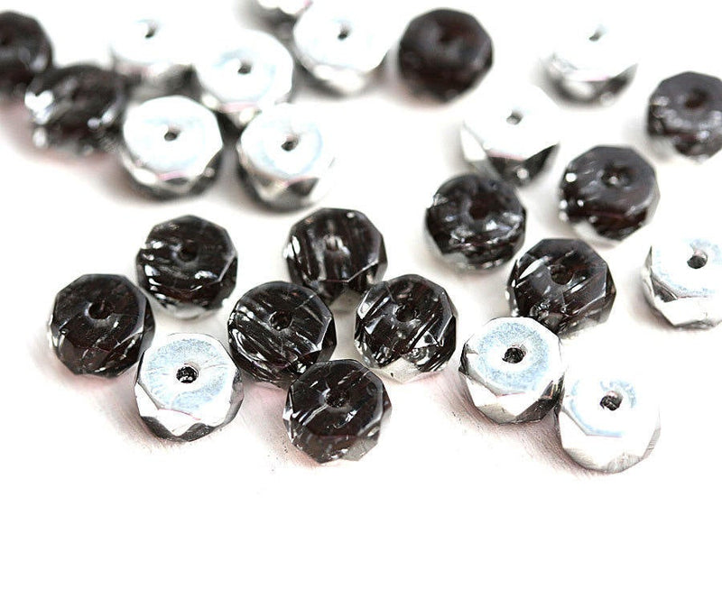 Black Silver Rondelle beads, fire polished czech glass faceted spacers