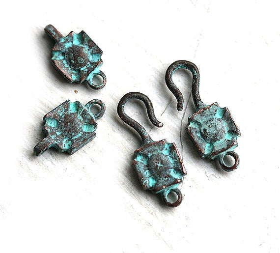 2 sets Hook and Eye large clasp, Green Patina on copper